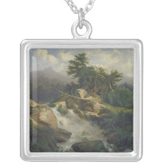 Forest Landscape with Waterfall Custom Necklace