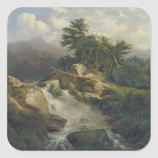 Forest Landscape with Waterfall Square Sticker