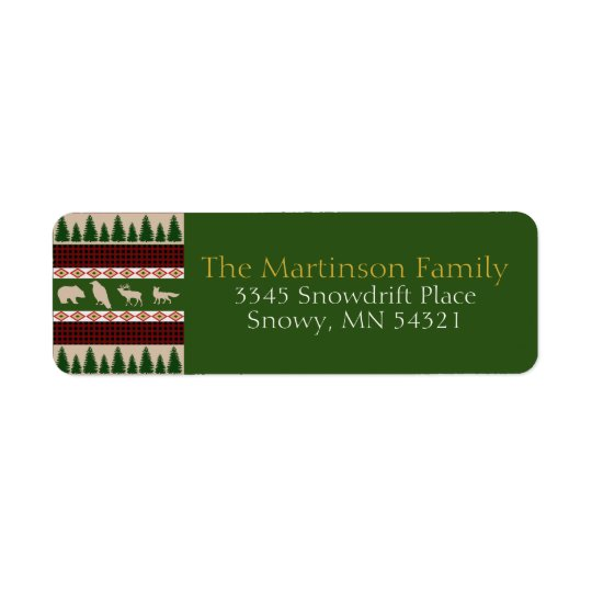 Forest Lodge Rustic Woodland Christmas Return Address Label