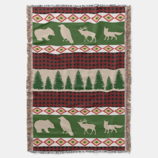 Forest Lodge Rustic Woodland Christmas Throw Blanket