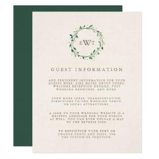 Forest | Monogram Wreath Wedding Guest Details Card