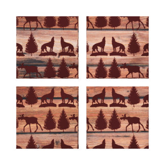 Forest Moose Wolf Wilderness Mountain Cabin Rustic Stretched Canvas Prints