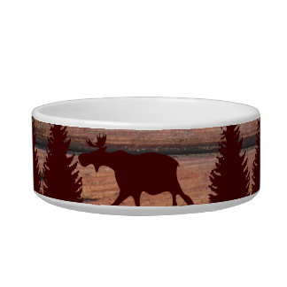 Forest Moose Wolf Wilderness Mountain Cabin Rustic Pet Bowl
