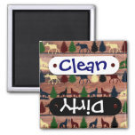 Forest Moose Wolf Wilderness Mountain Cabin Rustic Square Magnet