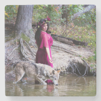 Forest Nymph with wolf coaster Stone Coaster