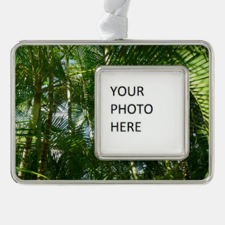 Forest of Palm Trees Tropical Green Silver Plated Framed Ornament