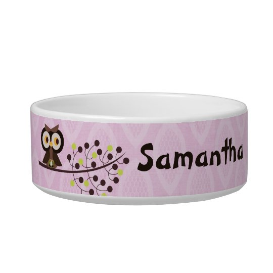 Forest Owl Woodland Hoot Night Pet Food Bowl
