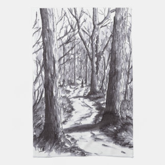 forest path ink landscape drawing tea towel
