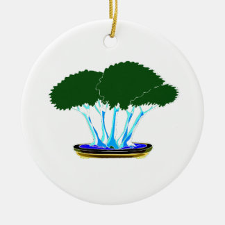 forest planting bonsai graphic green invert round ceramic decoration
