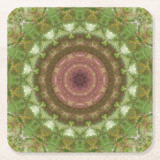 Forest Portal Mandala Square Paper Coaster