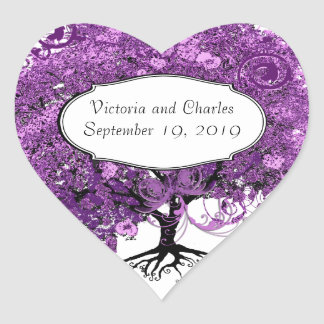 Forest Purple Heart Leaf Tree Wedding Heart Sticker