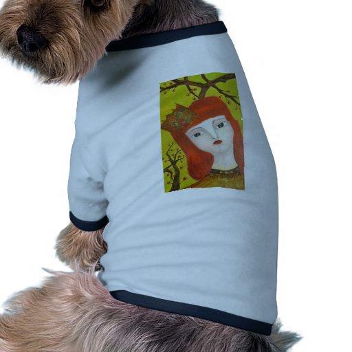 Forest Queen. Fairytale girl portrait art painting Doggie Tee Shirt