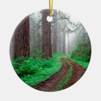 Forest Redwood Round Ceramic Decoration