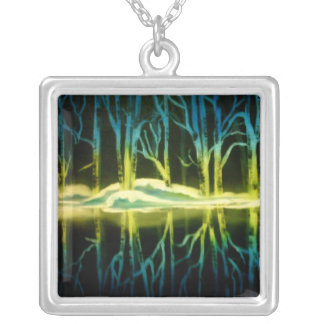 Forest Reflections Square Pendant Necklace
