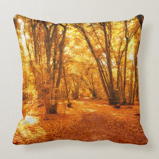 Forest Scene Throw Pillow in Autumn Fall Colours
