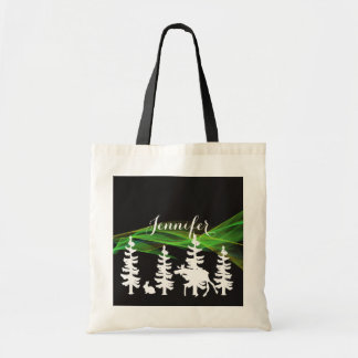 Forest silhouettes in white black northern lights tote bag