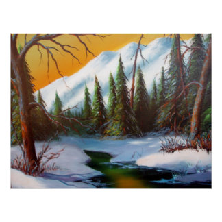 Forest Snow Scene Poster