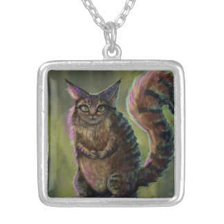 Forest Spirit Cat Silver Plated Necklace