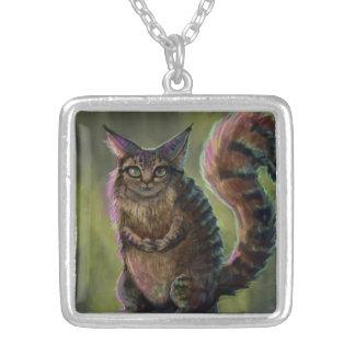 Forest Spirit Cat Square Pendant Necklace