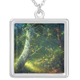 forest square pendant necklace