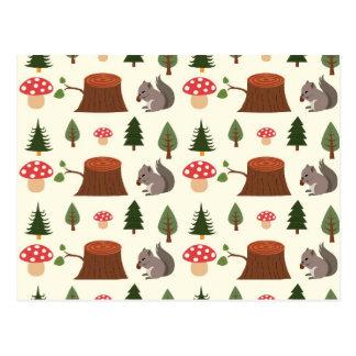 Forest Squirrel Pattern Postcard