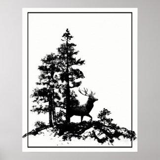 Forest Stag Deer Animal Nature Custom Back art Poster