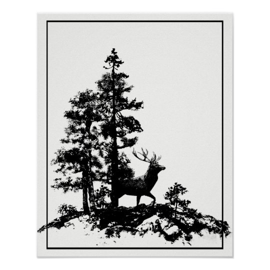 Forest Stag Deer Animal Nature Custom Back art