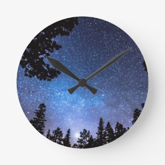 Forest Star Gazing An Astronomy Delight Round Wallclocks