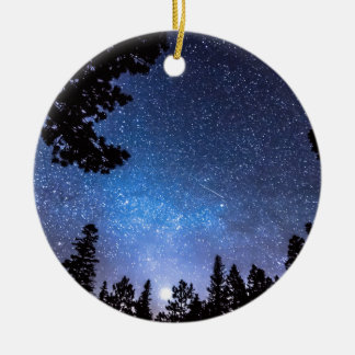 Forest Star Gazing An Astronomy Delight Double-Sided Ceramic Round Christmas Ornament