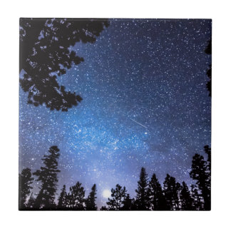 Forest Star Gazing An Astronomy Delight Small Square Tile