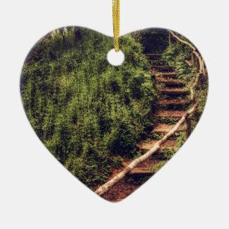 Forest Steps Ceramic Heart Decoration