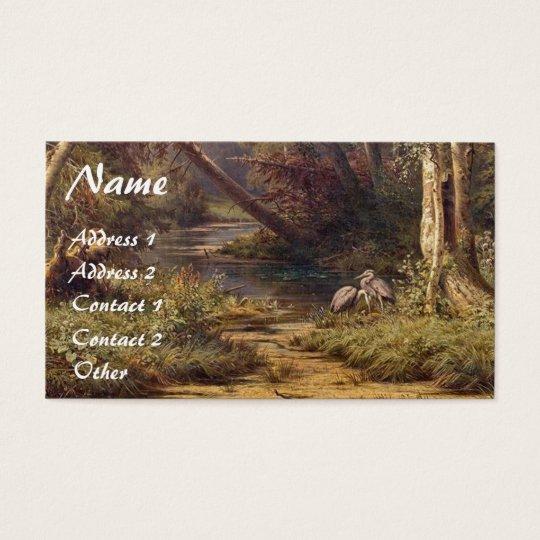 Forest Stream Heron Birds Wildlife Business Card