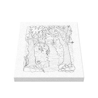 Forest Stream Line Art Design Canvas Print