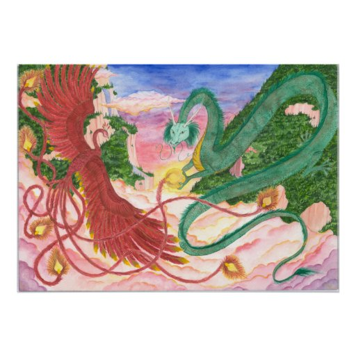 Forest Sunset Dragon and Phoenix Print