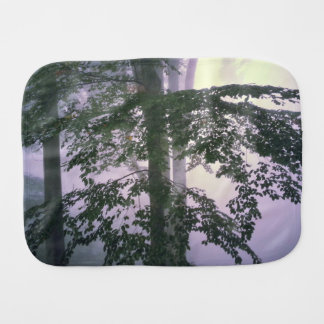 Forest Themed, Light Gently Glows Between A Forest Baby Burp Cloth