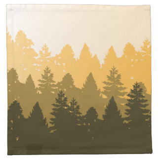 Forest Tree Silhouette Illustration Printed Napkins
