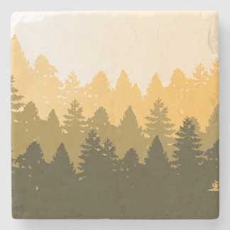 Forest Tree Silhouette Illustration Stone Coaster
