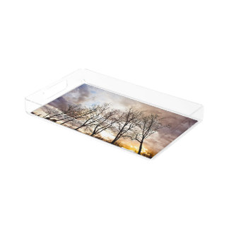 Forest Trees At Sunset With Cloudy Sky Acrylic Tray