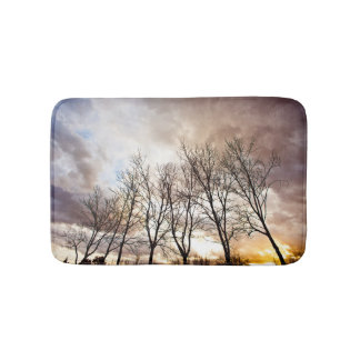 Forest Trees At Sunset With Cloudy Sky Bath Mats