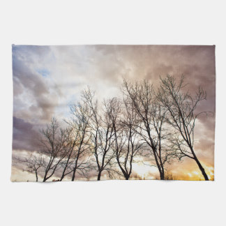 Forest Trees At Sunset With Cloudy Sky Tea Towel