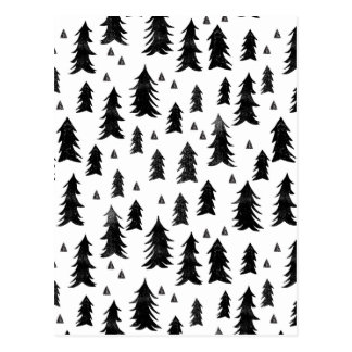 Forest Trees / Black White Minimal / Andrea Lauren Postcard