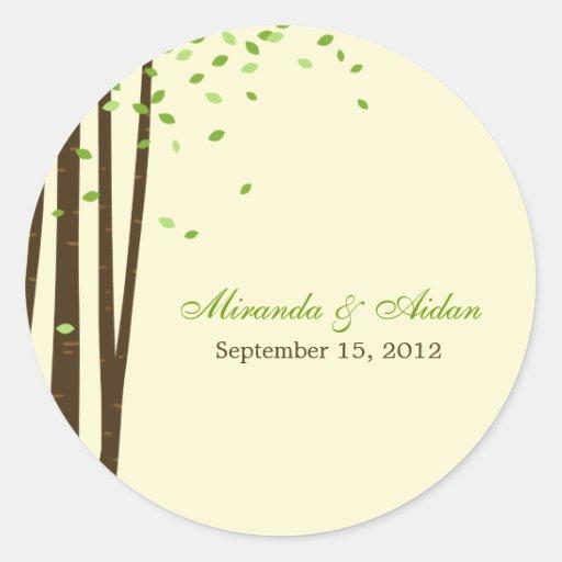 Forest Trees Favor Sticker or Envelope Seal- Green Round Sticker