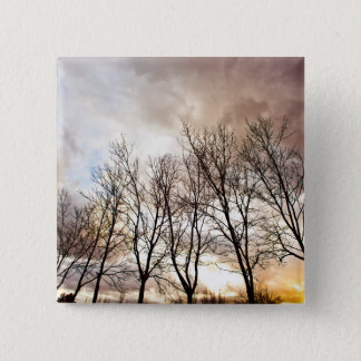 Forest Trees in Autumn with Cloudy Sky 15 Cm Square Badge