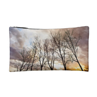 Forest Trees in Autumn with Cloudy Sky Makeup Bag