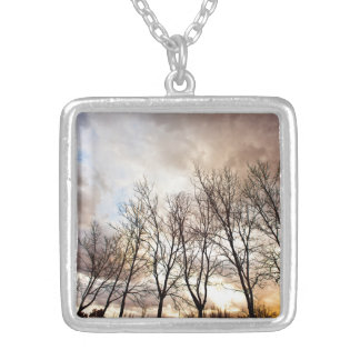 Forest Trees in Autumn with Cloudy Sky Silver Plated Necklace
