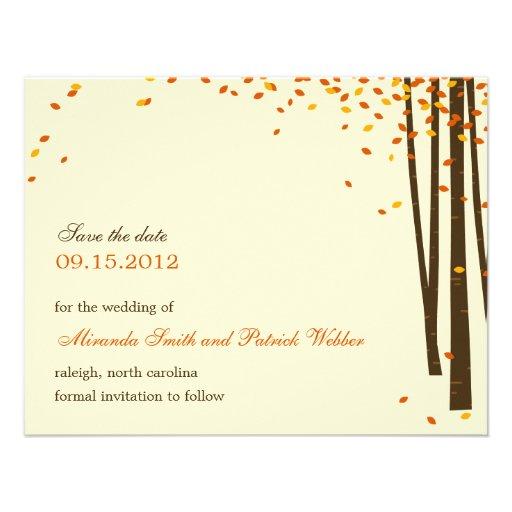 Forest Trees Save The Date Announcement - Orange - Custom Invites
