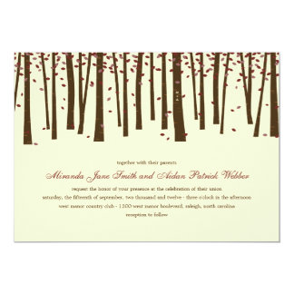 Forest Trees Wedding Invitation - Burgundy Personalized Invitation