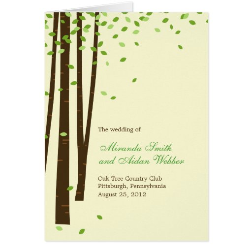 Forest Trees Wedding Program Card - Green Cards