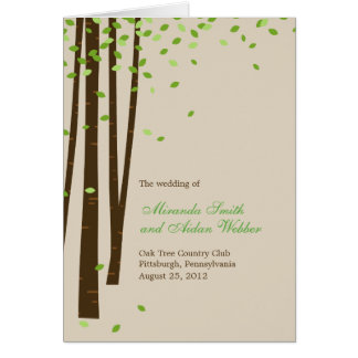 Forest Trees Wedding Program Card - Green