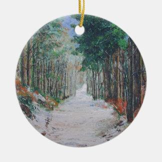 Forest walk, Yorkshire, England. Round Ceramic Decoration